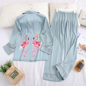 QWEEK İpek Kadınlar Pijama Pijama Pijamas Bayanlar Pijama Saten Uyku Salonu Ev Giyim Gecelik Flamingo Homewear Y200708 yazdır