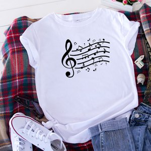 Free shipping Hot sale music note print round neck cotton short-sleeved female t-shirt fashion simple casual music style t-shirt for female