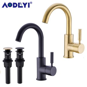 Solid Brass Black Bathroom Basin Faucet Cold And Hot Water Mixer Sink Tap Single Handle Brushed Gold Taps with Pop Up Drain T200710