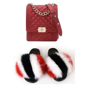 2020 GW borse hotsale lusso donne borsa colorata borse gelatina di pelliccia di volpe diapositive pantofole pezzi in magazzino