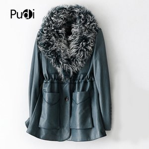 Pudi women genuine sheep leather coat jacket with real sheep fur collar winter real fur girl female long trench jackets A69030