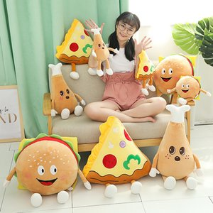 Hot Cute Cartoon Plush Hamburger French Fries Chicken Leg Toy Stuffed Food Popcorn Pizza Pillow Cushion Kids Toys Birthday Gift MX200716