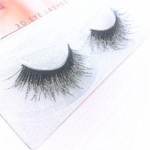 3D Mink sucio de plata del brillo de lentejuelas pestañas falsas largas pestañas falsas del reflejo del color exagerado pestañas de extensión Herramientas de maquillaje