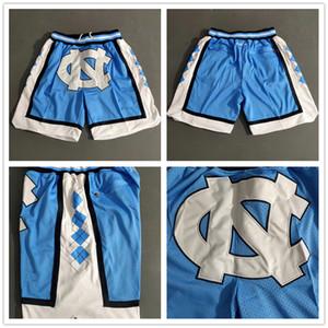 Talones de baloncesto de bolsillo para hombre DON JUSTO cortocircuitos retro cosido North Carolina Tar bolsillo Pantalones cortos malla Deportes bolsillo pantalón azul blanca
