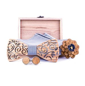 New 2020 White Wedding Bowtie Noeud Papillon Wooden Bow tie Pajaritas Cravat Bowties Female Male Brooch Cufflinks Tie set
