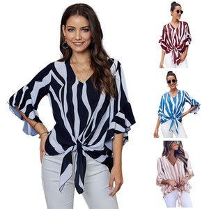 T Shirts Summer Blouses Women Contrast Color Striped Print Top Ladies Shirts Fashion 3 4 Sleeve V Neck Polyester Tie Street Woman Clothes