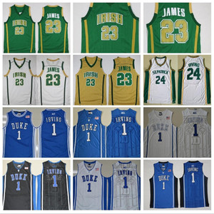 St Vincent Mary High School Irish 23 LeBron Jerseys Green White St. Patrick Kyrie Irving Basketball Jersey Duke Blue Devils