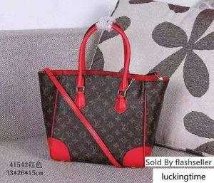 M41542 Calfskin CANVA Shopping WOMEN RED BROWN BAGS Hobo HANDBAGS TOP HANDLES BOSTON CROSS BODY MESSENGER Shoulder