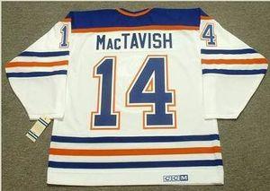 mulheres costume Homens Jovens Vintage # 14 Craig MacTavish Edmonton Oilers 1987 CCM Hockey Jersey Tamanho S-5XL ou personalizado qualquer nome ou número