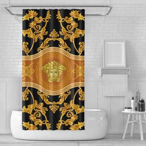 12 개 후크 뜨거운 판매 패션 로고 인쇄 욕실 장식 샤워 커튼