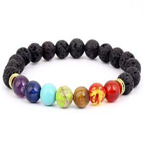 Black Lava Volcanic stone 7 Chakra Bracelet,Natural Stone Yoga Bracelet,Healing Reiki Prayer Balance Buddha Beads Bracelet . a026