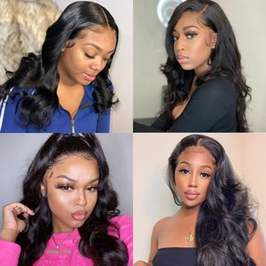 Lace Front Human Hair Wigs Brazilian Body Wave Pre Plucked Wigs For Women 150% Glueless Lace Frontal Wig Transparent