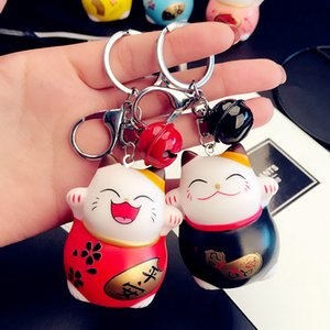 Nova Adorável Lucky Cat boneca Keychain dos desenhos animados Chaveiro do gatinho do carro Mulheres metal Sinos Portachiavi Bolsa Encantos Titular Pendant Chaveiro