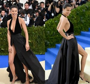 Sexy Black Halter Evening Dresses With Front Split A Line Backless Velvet Top Satin Skirt Red Carpet Celebrity Prom Gowns Formal Party Dres