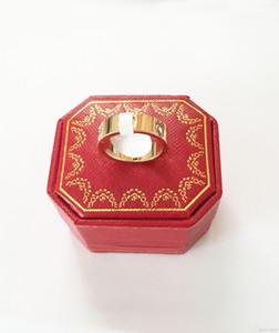 prata titânio de aço subiu anel de amor de ouro para o anel amantes casal com caixa original 4 milímetros 5 milímetro