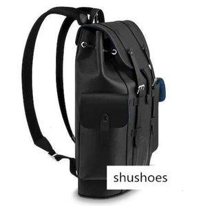 M53302 Christopher Pm Men Black Travel Bag Backpacks Fashion Shows Oxidized Leather Business Handbags Totes Messenger Bags