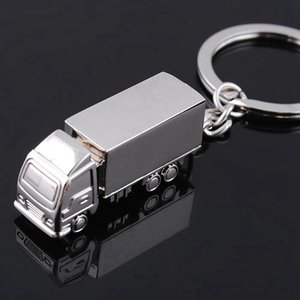 200pcs Cool Creative Fashion Container Truck Metal Keychain Ring Keyring Key Chain Ring Silver Funny Favor Promotion Wedding party RRA2566