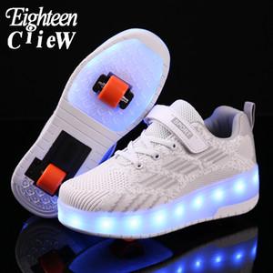 Los niños del patín de ruedas de los zapatos ocasionales de carga USB muchacha de los muchachos automática Jazzy encendido LED parpadeante niños que brilla zapatillas con ruedas