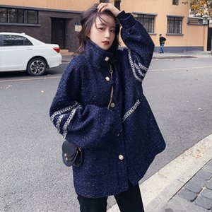 2020 autumn and winter new large size women's fat sister loose loose wild woolen coat thick tweed jacket