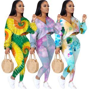 Mulheres Designer tingido laço Tracksuits Casual 2 Pedaço Pants Magro manga comprida Pescoço V Fatos forma das mulheres Fatos de cintura alta