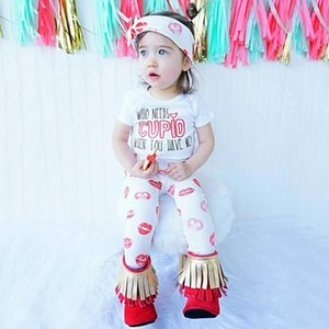 Toddler Kids Baby Girls Valentine clothes Fashion Letter print short Sleeve Top+kiss print Pant+Headbands boy Valentine Outfits