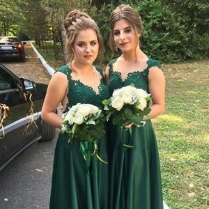 Dark Green Country Bridesmaid Dresses Lace Appliques Plus Size Maid Of Honor Gowns Satin A Line Floor Length Wedding Guest Dress B123