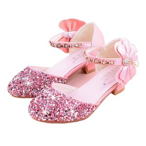 2020 Baby Girls Sandals High Heel Shoes For Kids Leather Crystal Rhinestone Butterfly Spring Summer Children Shoes Girl Shoes