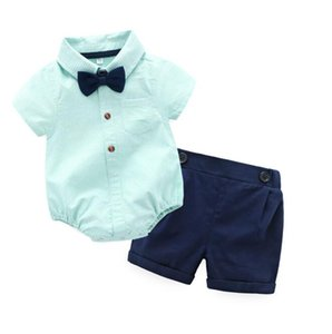 Cross border children's clothing wholesale spring and summer baby one piece clothes boys' short sleeve gentleman's hip suit baby clothes