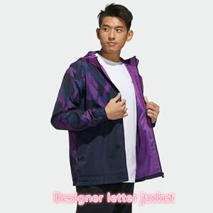 Vestes pour hommes Styliste à manches longues style actif de haute qualité Sportwear coupe-vent avec fermeture à glissière blanche élégante rayée 2Color-sélectionnée -