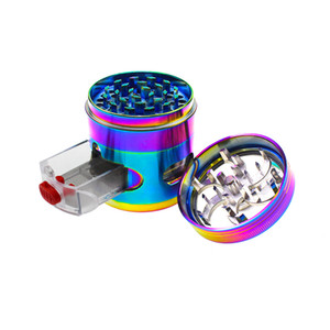 New manual 4-layer 63mm smoke grinder with drawer bright color zinc alloy window grinder