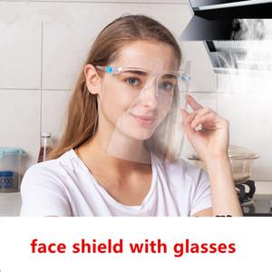 Yüz Kalkanı ile Gözlük Çerçevesi Anti-sis İzolasyon Maskeler 360 Derece Koruma Anti-Sıçrama önleyici Yağ Yeniden kullanılabilir Yüz Maskesi