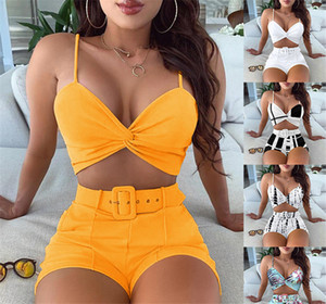 Summer Womens 2 Piece Sets Casual Color Block Striped Cami Tops Shorts Tracksuits Ladies Spaghetti Strap V Neck Tops and Short Pants Sets