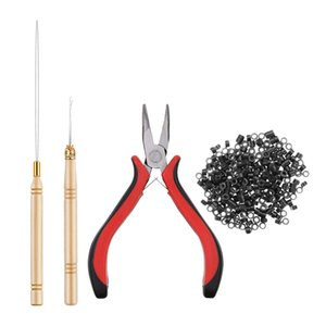 500x Micro Silicone Link Rings Beads Plier Hook Pulling Needle Tools Accessory