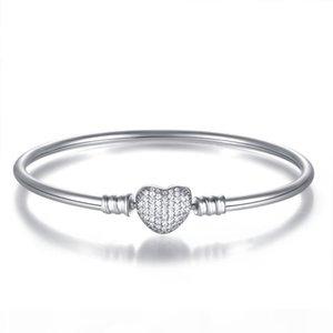 Yeni Otantik 925 Gümüş açacağı Aşk Kalp Kristal toka Klip Temel Bilezik Bileklik Fit Kadınlar DIY Pan Boncuk Charm Takı