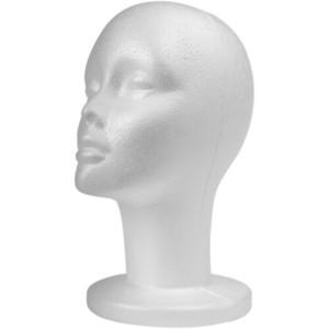STYROFOAM FOAM MANNEQUIN WIG- HEAD DISPLAY HAT CAP WIG- HOLDER weiße Schaum Kopf jf0036