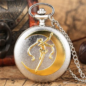Retro Fashion Golden Silver Sailor Moon Anime Cartoons Quartz Pocket Watch Analog Display Necklace Chain for Girl Womens Watches Gift