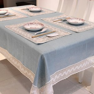 Simple Europe Blue Tablecloth Linen Cotton Lace Edge Rectangular Dust Proof Table Covers for Tea Table Fridge High Quality T200707