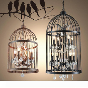 Loft Vintage American Rural creative chandelier clothing store restaurant iron pendant light crystal decorate birdcage pendant lamp