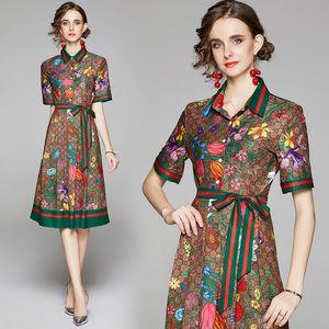 Yaz Pist Vintage Çiçek Mektupları Baskı Yaka Bow Kısa Kollu Düğmesi Ön Kadınlar Bayanlar Casual Parti Plaj OL A-Line Midi Elbise