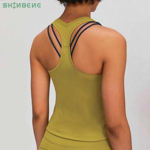 SHINBENE RACERBACK Quatre-Way Yoga Gym Stretchy Courir Débardeurs Femmes Buttery-Soft Naked-Feel ordinaire Fitness Sport entraînement Vest