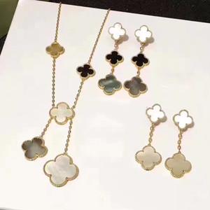 2020 de jóias de alta qualidade shell mãe Natural de pérola flor trevo colar de flores Set 5 pulseiras, brincos um conjunto frete grátis Jóias