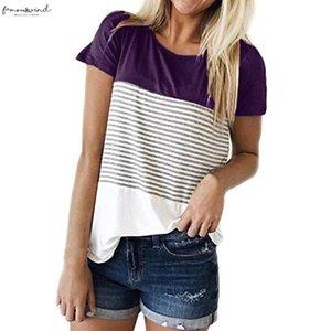 Womens Clothing Womens Blouse Women Summer Short Sleeve Triple Color Short Sleeve Block Stripe Casual Blouse Drop Shipping