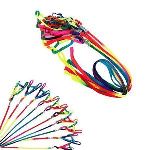 Rainbow Pet Dog Collar Harness Leash 120cm Soft Walking Harness Lead Colorful and Durable Traction Nylon Rope GGA832