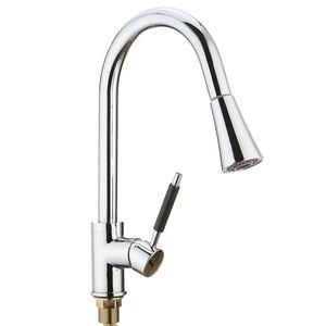 Cozinha Bacia Sink Pull Out torneira Toque giratória Gooseneck bico spray de água Mixer