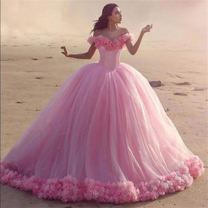 Off Shoulder Quinceanera Sweet 16 Dress Masquerade Pink Ball Gown Handmade Floral Vestido De Festa Debutante Gowns Evening Party