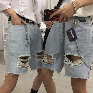 Мужские джинсы шорты Молодежь Популярная корейская Ins Solid Color Hole Denim шорты 2020 лето новые свободные штаны Sky голубой