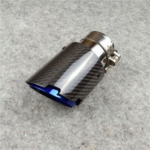 Новый Впускной 51/54 / 57/60 мм Выхлопная углеродного волокна автомобиля Наконечник Глушитель Tail Pipe Синий Обожженная Glossy Black Обложка для автомобиля Стайлинг