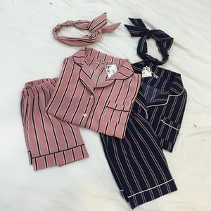 3PCS Set Women Casual Nightdress Sleepwear Vertical Stripe Short-sleeved Pajamas + Shorts + Hair Band Home Wear Ladies Underwear Y200708