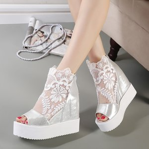 buld silk lace white silver wedge sandals high platform heels invisible height increased peep toe women shoes size 35 to 39