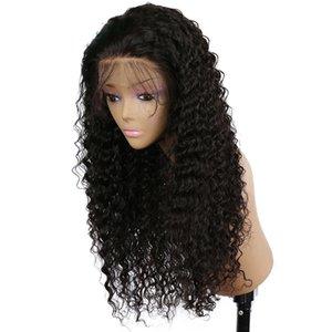 Sıcak satış Siyah Kadınlar için Bebek Saç Sentetik Isıya Dayanıklı glueless ile Dantel Açık Peruk Doğal Yumuşak Uzun Kinky Kıvırcık Wave inç 13x4